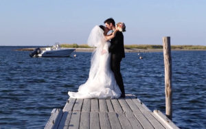 Edgartown Yacht Club Wedding Couple smiling during photo session