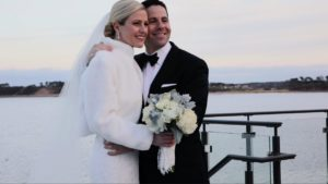 Wequassett Winter Wedding couple smiling during portrait session filmed by Harborview Studios