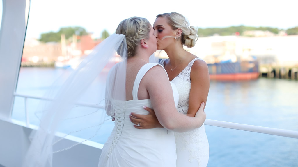 First look for same sex couple on boat in New England