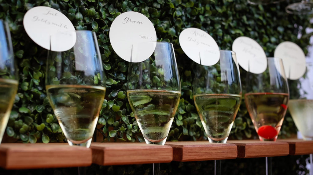 Unique place champagne flute cards for coastal wedding