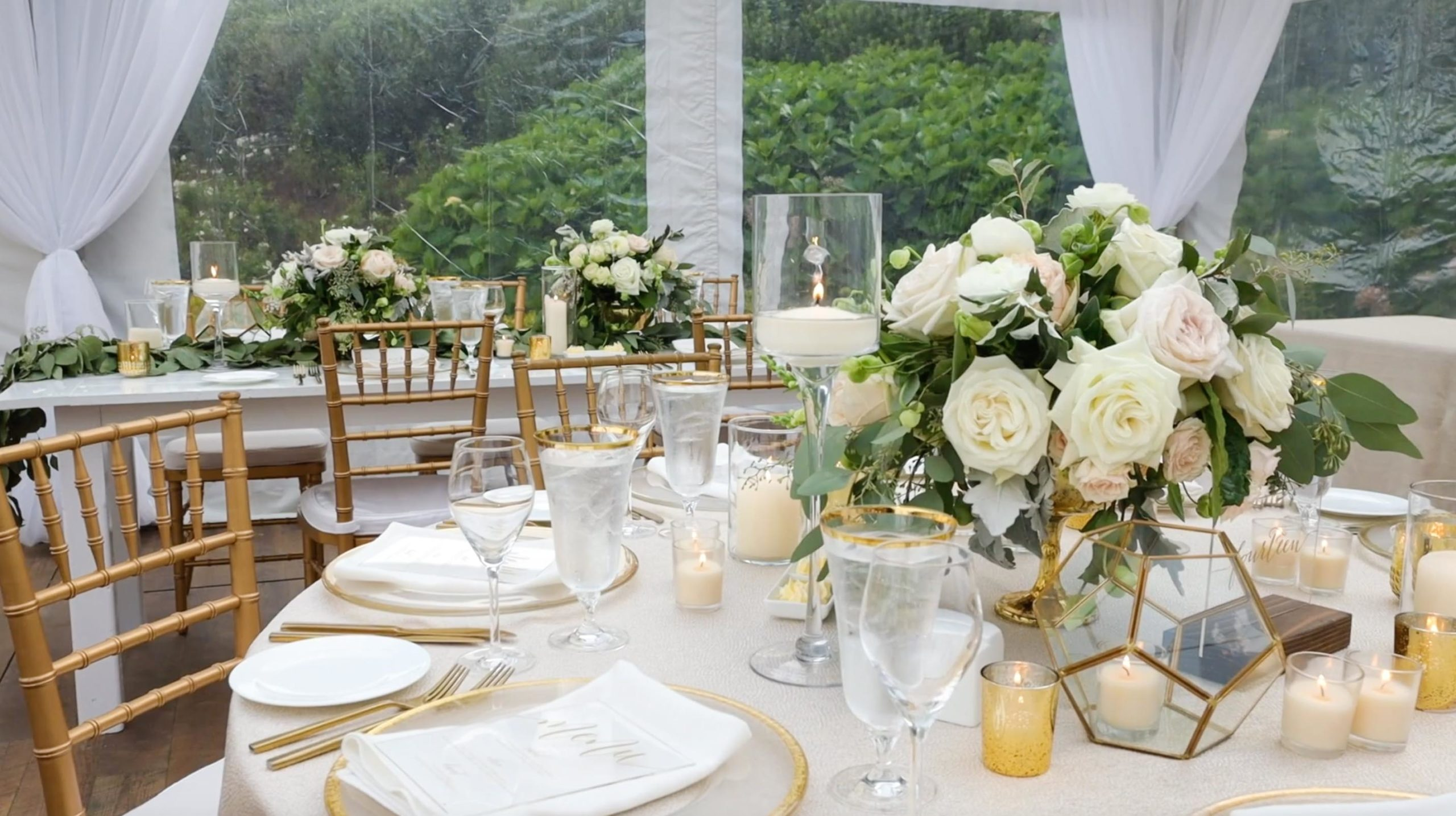 Gold and green table decor at luxury Wequassett Wedding on Cape Cod
