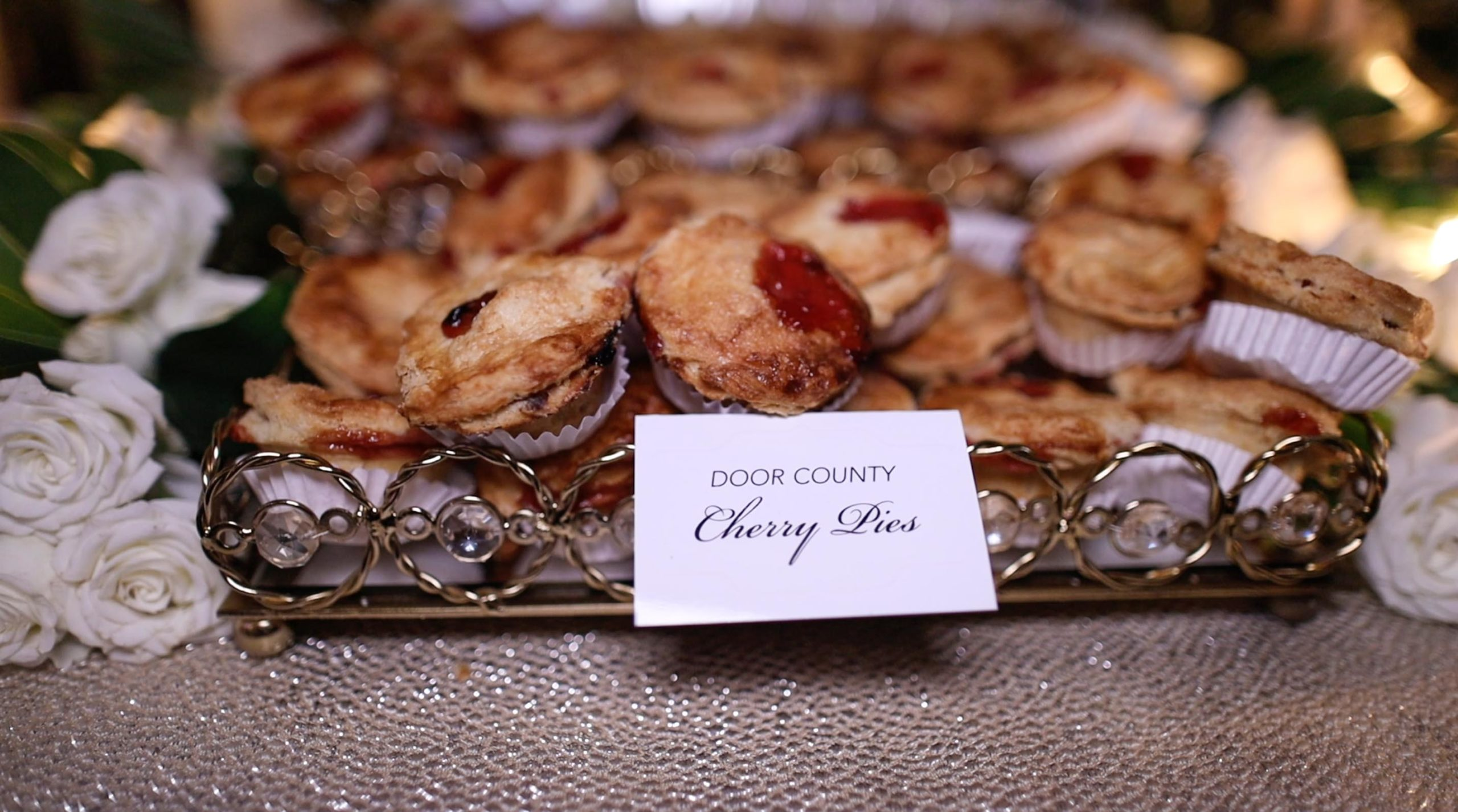 Tiny cherry pies served to guests during wequassett wedding