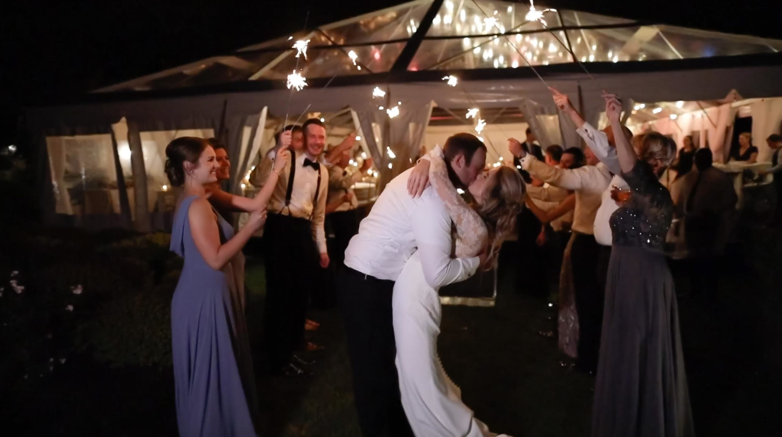 Waterfront Cape Cod Wedding with Sparkler Exit