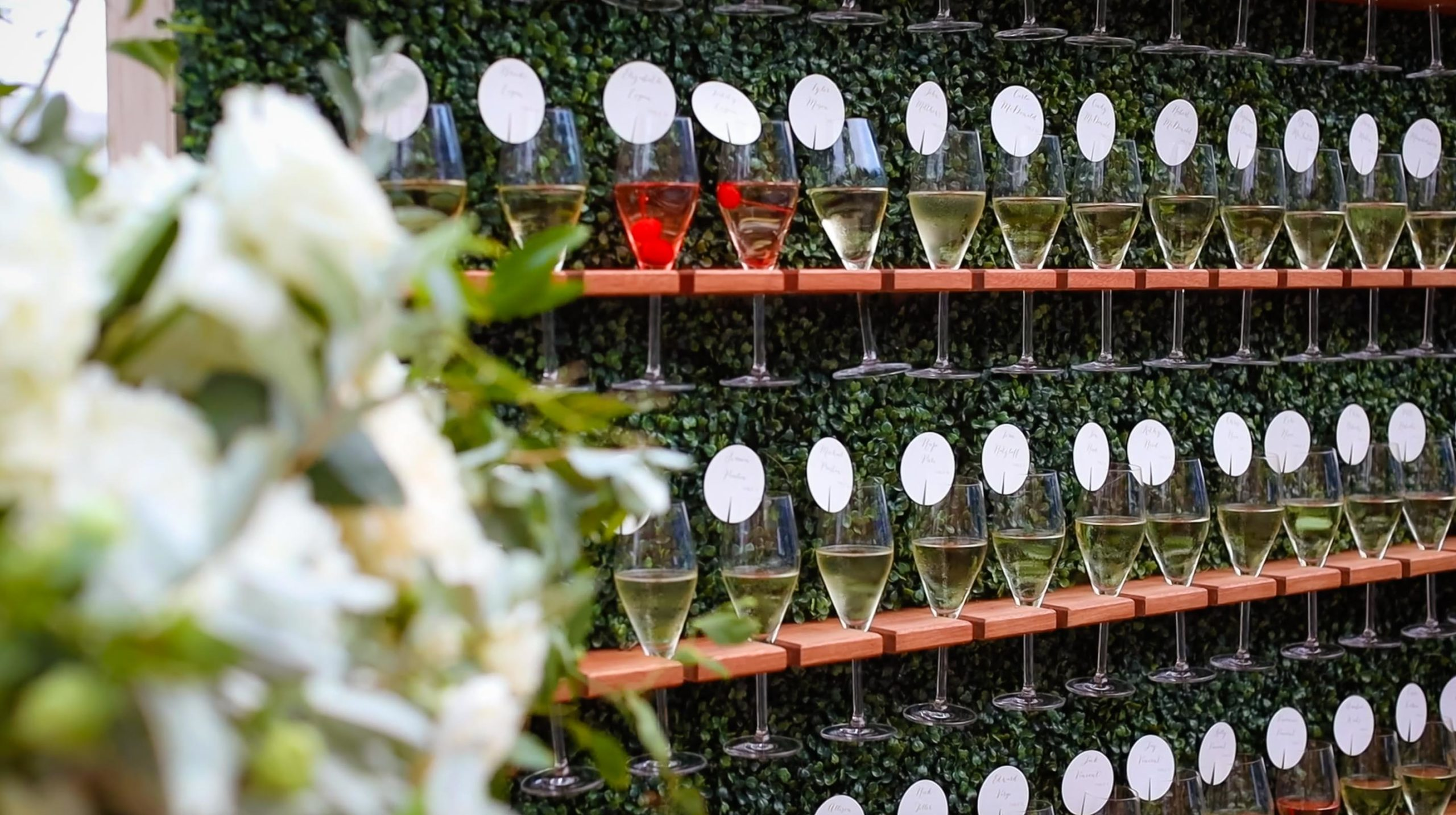 Champagne Wall at Cape Cod wedding at Wequassett Resort