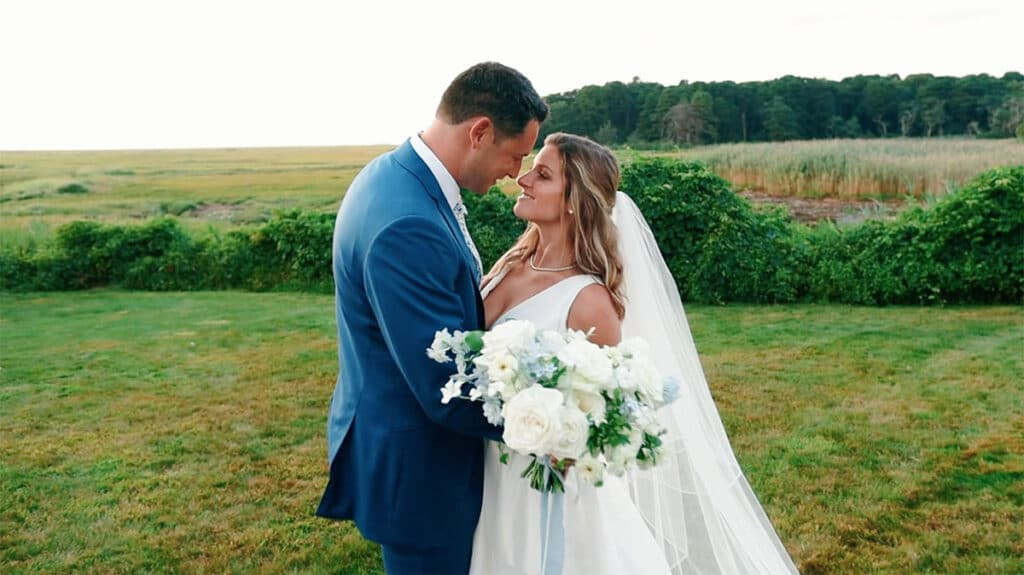 Couple smiling after their intimate small wedding on Cape Cod