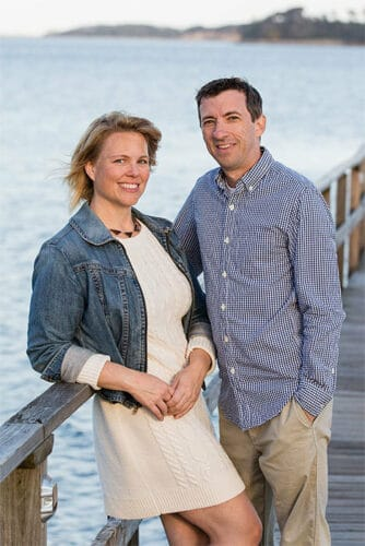 Husband and Wife Cape Cod wedding videographers on the dock at Wequassett Resort